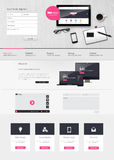 Website interface template vector design with realistic still life illustration, tablet, coffee, notebook. Stock Photo