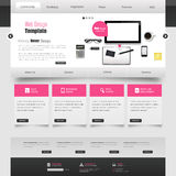 Website interface template vector design with realistic still life illustration, tablet, coffee, notebook. Stock Image