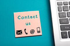 Website, Internet contact us page concept with laptop and reminder Royalty Free Stock Image