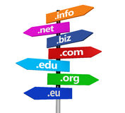 Website Internet Domain Names Signpost. Website and Internet domain names web concept with domains sign and text on colorful road signpost isolated on white Royalty Free Stock Photography