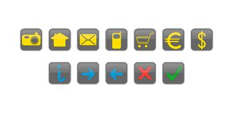 Website and internet icons buttons Royalty Free Stock Photo