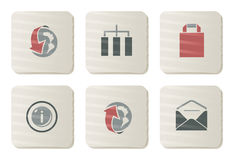 Website and Internet icons | Cardboard series Royalty Free Stock Photos