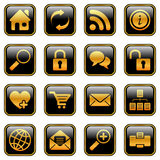 Website and internet icons, golden series Stock Image
