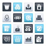 Website and internet icons over color background. Vector icon set stock illustration
