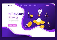 Website Isometric Landing page concept of Startup your project for website and mobile website. Easy to edit and customize royalty free illustration