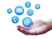 Website-Kontakt-Seiten-Ikonen-Konzept Lizenzfreies Stockfoto