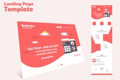 Website landing page template design for promotion stock illustration