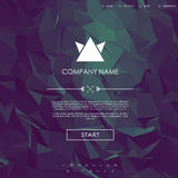 Website landing page template with set of line icons user interface and purple low poly background. Royalty Free Stock Photo