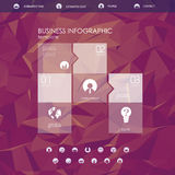 Website landing page template with set of round circle icons user interface and purple low poly background. Royalty Free Stock Photography