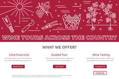 Website landing page template for wine industry Stock Photos