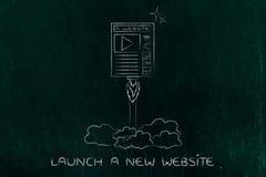 Website launch, webpage flying like a rocket Stock Image