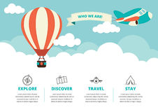 Website Layout with Travel Icons Stock Photos