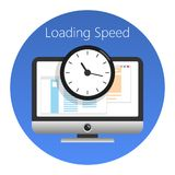 Website, loading speed or worked time icon. Vector illustration. Website loading speed or worked time icon. In a blue circle on a white background. Vector royalty free illustration