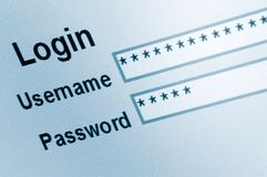 Website Login Screen Macro royalty free stock photo