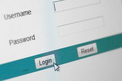 Website Login Screen. Macro Capture Pale Blue Royalty Free Stock Photos