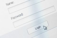 Website Login Screen Stock Image