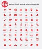 49 website, Media, de pictogrammen van Internet & van de Technologie Royalty-vrije Stock Afbeelding
