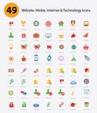 49 website, Media, Inter netto & Technologiepictogrammen, Colo Royalty-vrije Stock Afbeeldingen