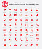49 Website, Media, Internet & Technology icons. Red version vector illustration