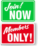 Website Members Only or Join Website signs. Shop window style signs invite website users to Join or restrict access to Members Only In your choice of drop shadow Royalty Free Stock Image
