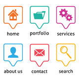 Website menu icons Royalty Free Stock Image