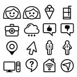 Website menu line, stroke icons set - user, computer, app Royalty Free Stock Photos