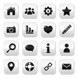 Website menu navigation buttons - home, blog icons Stock Photos