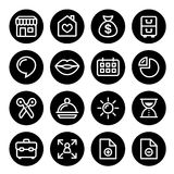 Website menu navigation round line icons, flat design - online shop, web page Royalty Free Stock Image