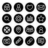 Website menu navigation round line icons - home, search, email, gallery, blog Stock Image