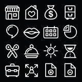 Website menu navigation white line icons on black. Navigation menu stroke icons set isolated on black - social media, web page, blog Royalty Free Stock Photo
