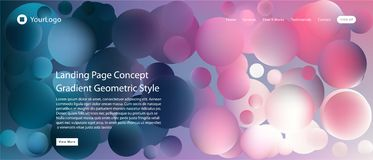 Website or mobile app landing page with illustration of Abstract Colorful Minimal Geometric Pattern Background Design and Gradient stock illustration