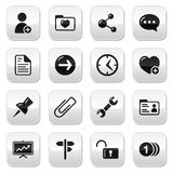 Website navigation buttons set. Internet balck icons on glossy square buttons Stock Photos