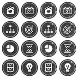 Website navigation icons on retro labels set. Vintage dark badges - internet, web page icons Stock Photo