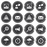 Website navigation icons on retro labels set Stock Photography