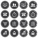 Website navigation icons on retro labels set. Vintage dark badges - internet, web page icons Royalty Free Stock Image