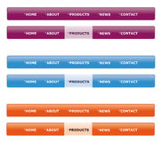 Website navigation menu. In purple, blue and orange isolated on white Royalty Free Stock Image
