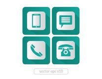 Website- och internetkontaktsymboler och symboler Arkivfoto