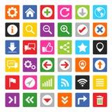 Website- och internetsymbolsuppsättning Arkivfoto