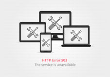 Website 503 page unavailable creative concept with electronic devices Royalty Free Stock Photography