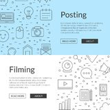 Vector line blog icons web banner templates illustration vector illustration