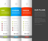 Website product pricing comparison table template with 3 options. Vector art royalty free illustration