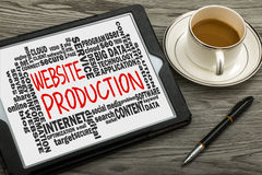 Website production with related word cloud handwritten on tablet Stock Photography