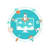 Website-Produkteinführung, zufriedene Entwicklung und Wartung Illustratio Lizenzfreie Stockfotografie