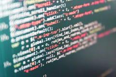 Website programming code. Coding script text on screen stock photos