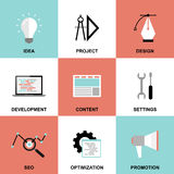 Website project process icons Royalty Free Stock Photo