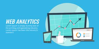 Website report analysis on digital devices. Web analytics, data, information concept. Royalty Free Stock Images