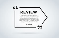 Website review quote citation blank template vector icon comment customer circle paper information text chat citing Stock Images