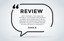 Website review quote citation blank template vector icon comment customer circle paper information text chat citing Stock Photos