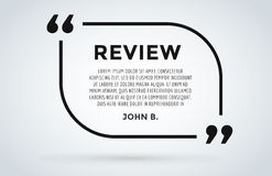 Website review quote citation blank template vector icon comment customer circle paper information text chat citing Royalty Free Stock Photography