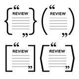 Website review quote citation blank template. Website review  icon. Quote comment template. Quote bubble. Shop customer revi Stock Image